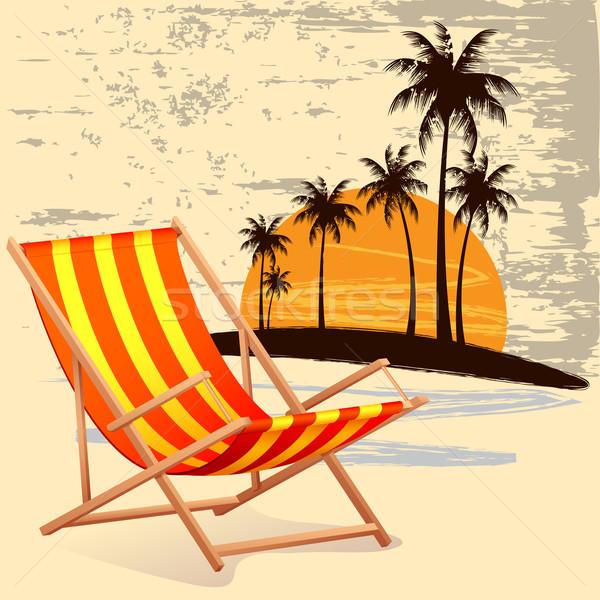 Silla playa ilustración palmera cielo árbol Foto stock © vectomart