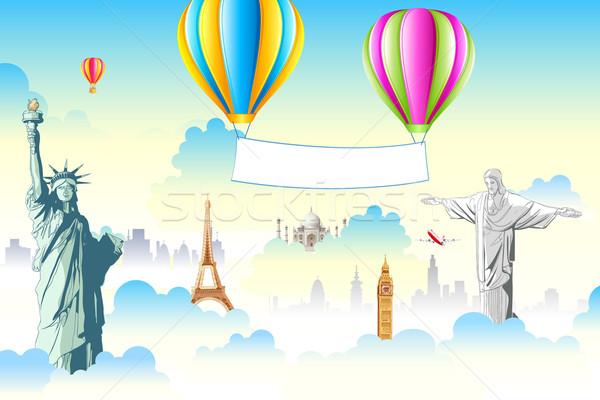 Monde ciel illustration célèbre ballon à air chaud Photo stock © vectomart