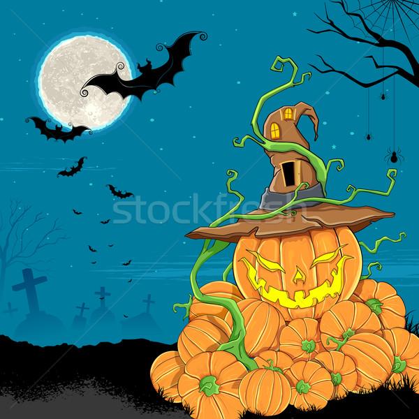 Illustratie pompoen halloween nacht blad Stockfoto © vectomart