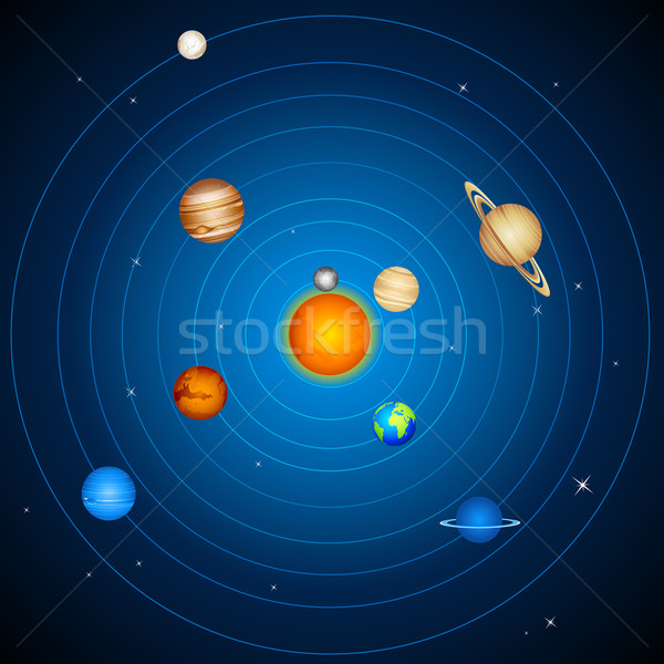 Солнечная система иллюстрация планеты солнце луна фон Сток-фото © vectomart