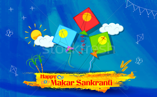 Makar Sankranti wallpaper with colorful kite Stock photo © vectomart