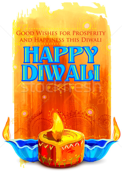 Happy Diwali background with coloful watercolor diya Stock photo © vectomart