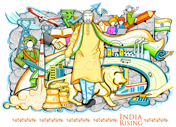 Collage progreso desarrollo India Foto stock © vectomart