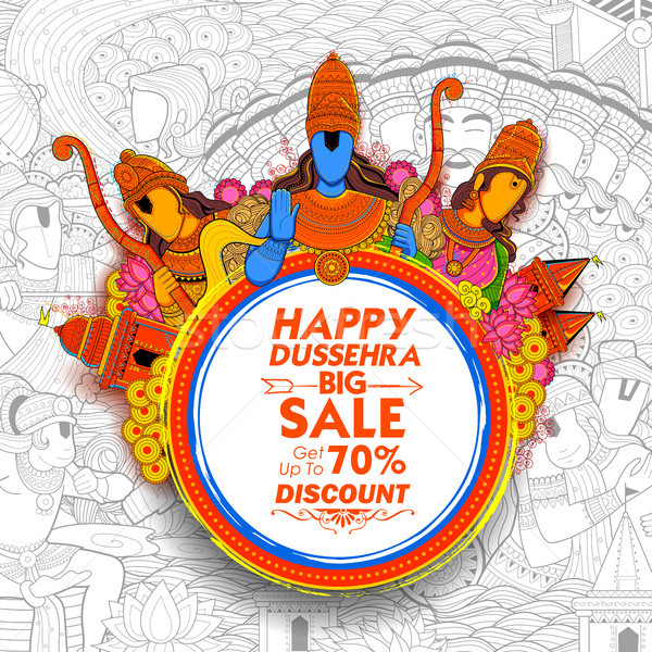 Lord Rama, Laxmana and Sita Lord Rama in Navratri festival of India for Happy Dussehra Sale Promotio Stock photo © vectomart