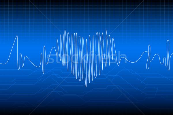Batimento cardíaco ilustração coração onda freqüência médico Foto stock © vectomart