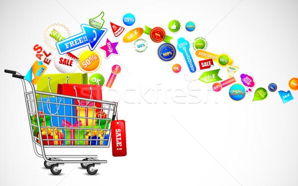 Carrello completo vendita prodotto illustrazione cart Foto d'archivio © vectomart