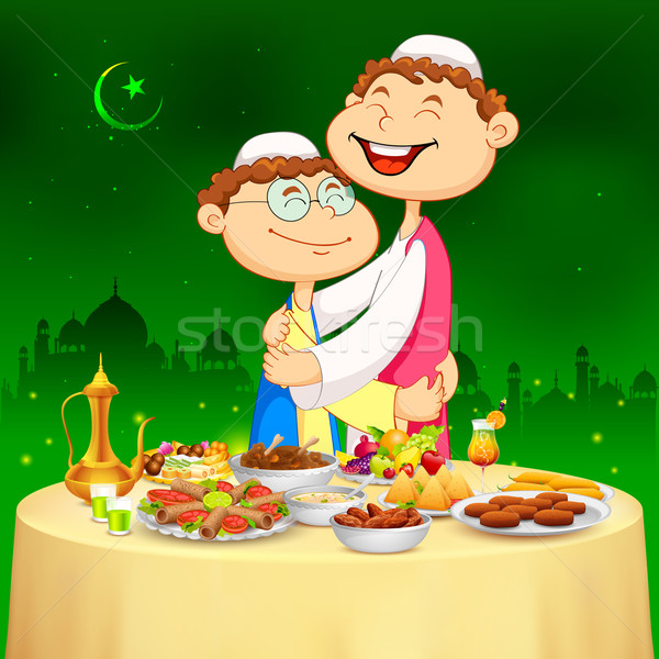 People hugging and wishing Happy Bakrid Stock photo © vectomart