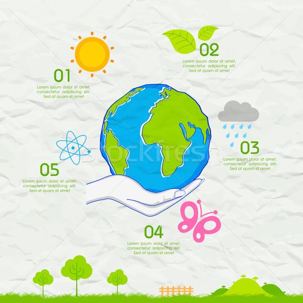 Día de la tierra papel ilustración árbol mano mundo Foto stock © vectomart