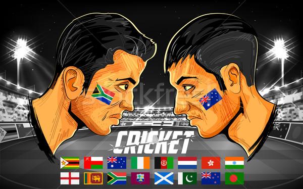Críquete jogadores campeonato ilustração jogador diferente Foto stock © vectomart