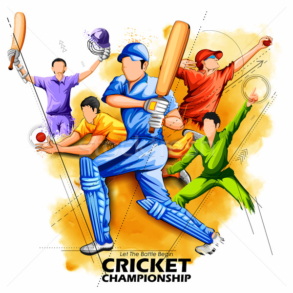 Batsman and bowler playing cricket championship Stock photo © vectomart