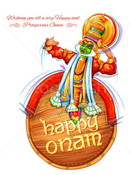 Kathakali dancer on background for Happy Onam festival of South India Kerala Stock photo © vectomart
