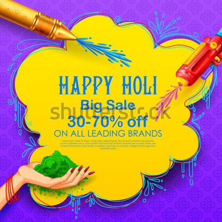 Happy Holi Advertisement Promotional backgroundd for Festival of Colors celebration greetings Stock photo © vectomart