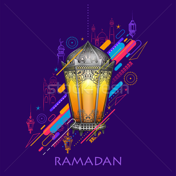 Ramadan Kareem (Generous Ramadan) greetings for Islam religious festival Eid with illuminated lamp Stock photo © vectomart