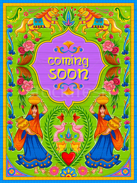 Colorful Coming Soon banner in truck art kitsch style of India Stock photo © vectomart