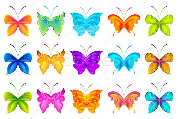 Сток-фото: красочный · бабочки · иллюстрация · набор · изолированный · животного