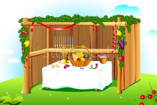 Décoré illustration laisse fruits maison arbre Photo stock © vectomart