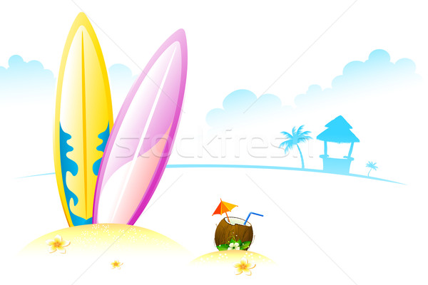 Surf bord coco illustration tendre mer Photo stock © vectomart