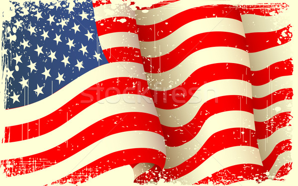 Grungy American Flag Waving Stock photo © vectomart