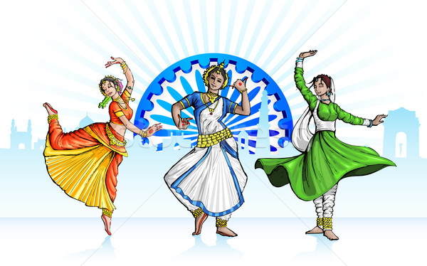 Indian classica ballerino illustrazione tricolore Foto d'archivio © vectomart