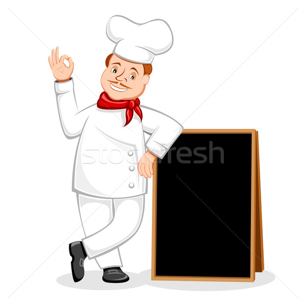 Chef Posing with Black Board Stock photo © vectomart