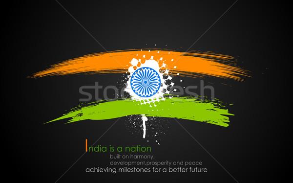 Sucio India tricolor ilustración banda indio Foto stock © vectomart