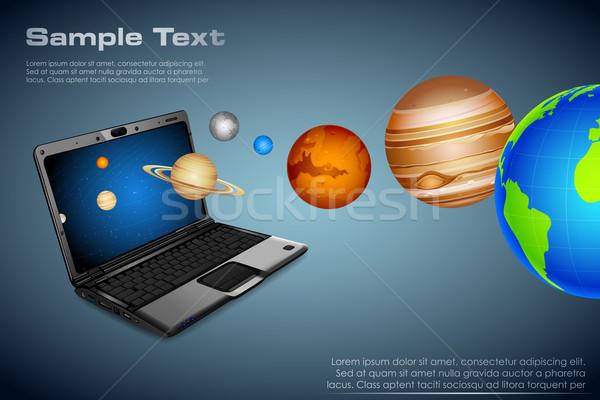 Tecnica universo illustrazione pianeti fuori notebook Foto d'archivio © vectomart