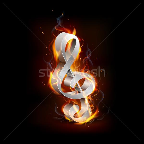 Tüzes zene jegyzet láng terv kő Stock fotó © vectomart