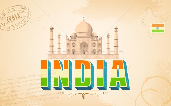 Тадж-Махал Индия иллюстрация карта фон зеленый Сток-фото © vectomart