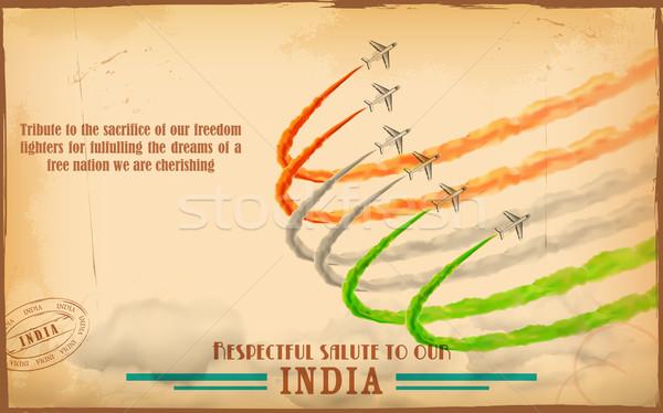 самолет индийской триколор флаг небе Сток-фото © vectomart