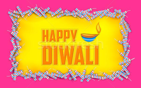 Happy Diwali background with diya and firecracke Stock photo © vectomart