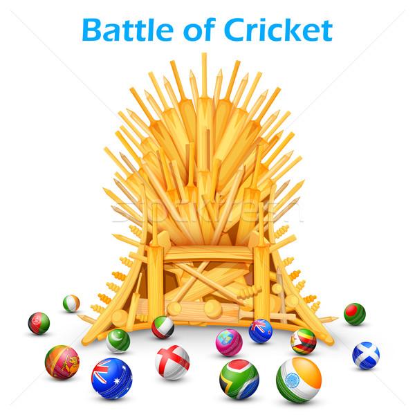 Cricket bate trono diferente países ilustración Foto stock © vectomart