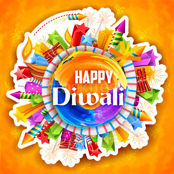 Stock photo: Colorful watercolor diya and fire cracker on Happy Diwali background for light festival of India