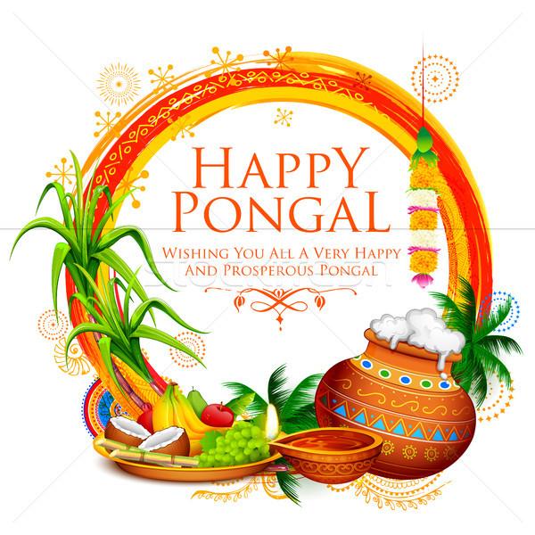 Mutlu tatil hasat festival güney Hindistan Stok fotoğraf © vectomart