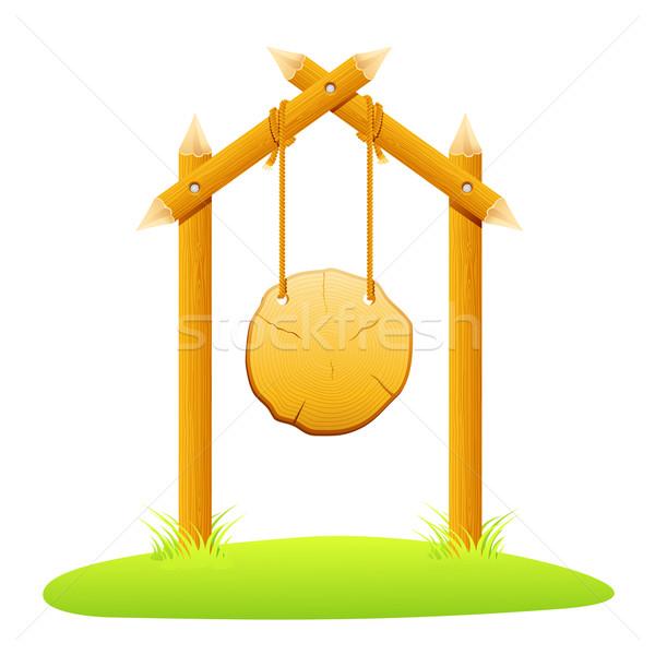 Hanging Wooden Board Stock photo © vectomart