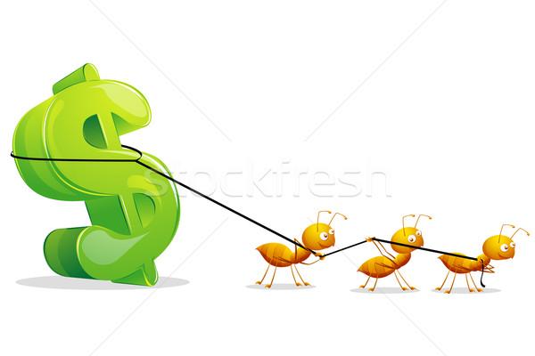 Ants dragging Dollar Stock photo © vectomart
