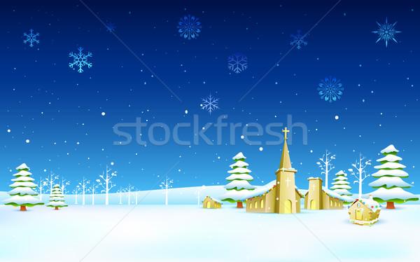 Stok fotoğraf: Kilise · Noel · gece · örnek · kış · manzara