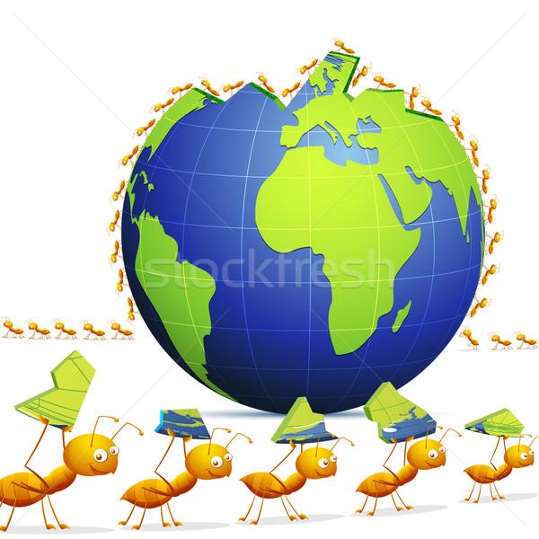 Ant creating World Stock photo © vectomart