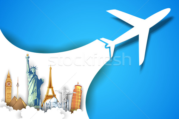 Airplane Taking in Travel Background Stock photo © vectomart