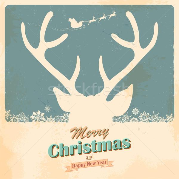Natale renne illustrazione retro vacanze texture Foto d'archivio © vectomart