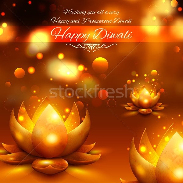 Golden lotus shaped diya on abstract Diwali background Stock photo © vectomart
