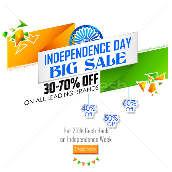 India banner with Indian flag for sale and promotion Stock photo © vectomart