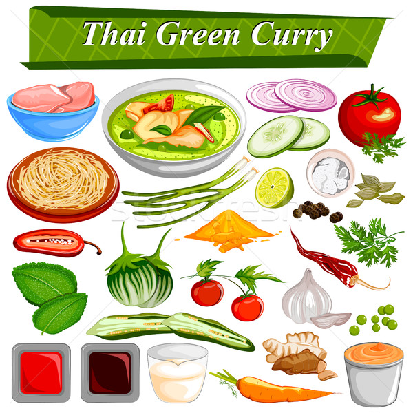 Food and Spice ingredient for Thai Green Curry Stock photo © vectomart