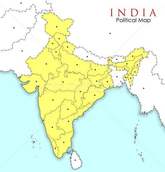 подробный карта Индия Азии стране Сток-фото © vectomart