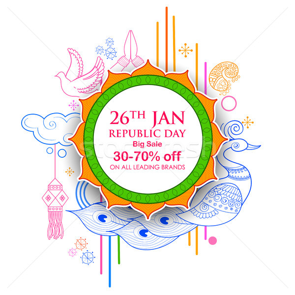 Stock photo: Indian background with tricolor for 26th January Happy Republic Day of India Sale and Promotion Adve