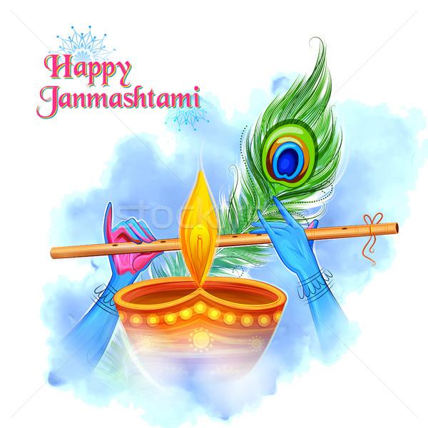 Krishna gry flet szczęśliwy festiwalu Indie Zdjęcia stock © vectomart