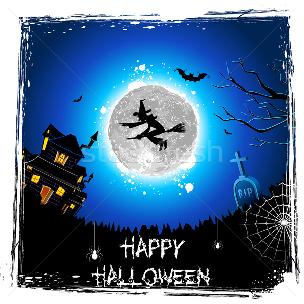 Flying Witch in Halloween Night Stock photo © vectomart