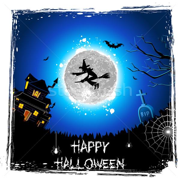 Battenti strega halloween notte illustrazione manico di scopa Foto d'archivio © vectomart