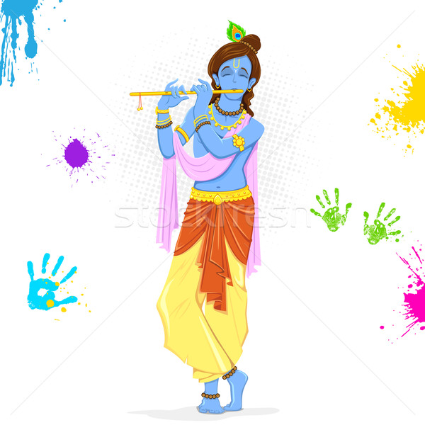 Krishna Playing Holi Stock photo © vectomart