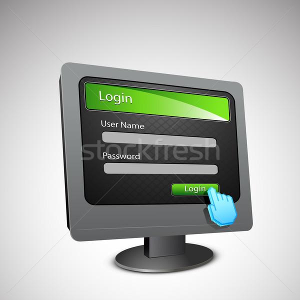 Login página tela do computador ilustração forma Foto stock © vectomart