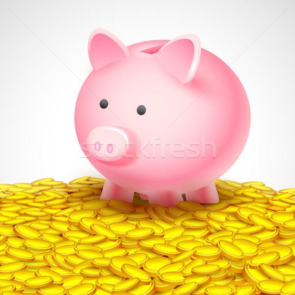 Piggy Bank on heap of gold coin Stock photo © vectomart